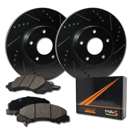 Max Brakes Rear Elite Brake Kit [ E-Coated Slotted Drilled Rotors + Ceramic Pads ] KT076782 | Fits: 2004 04 Pontiac Grand Prix Include GT/GTP Models - image 8 de 8