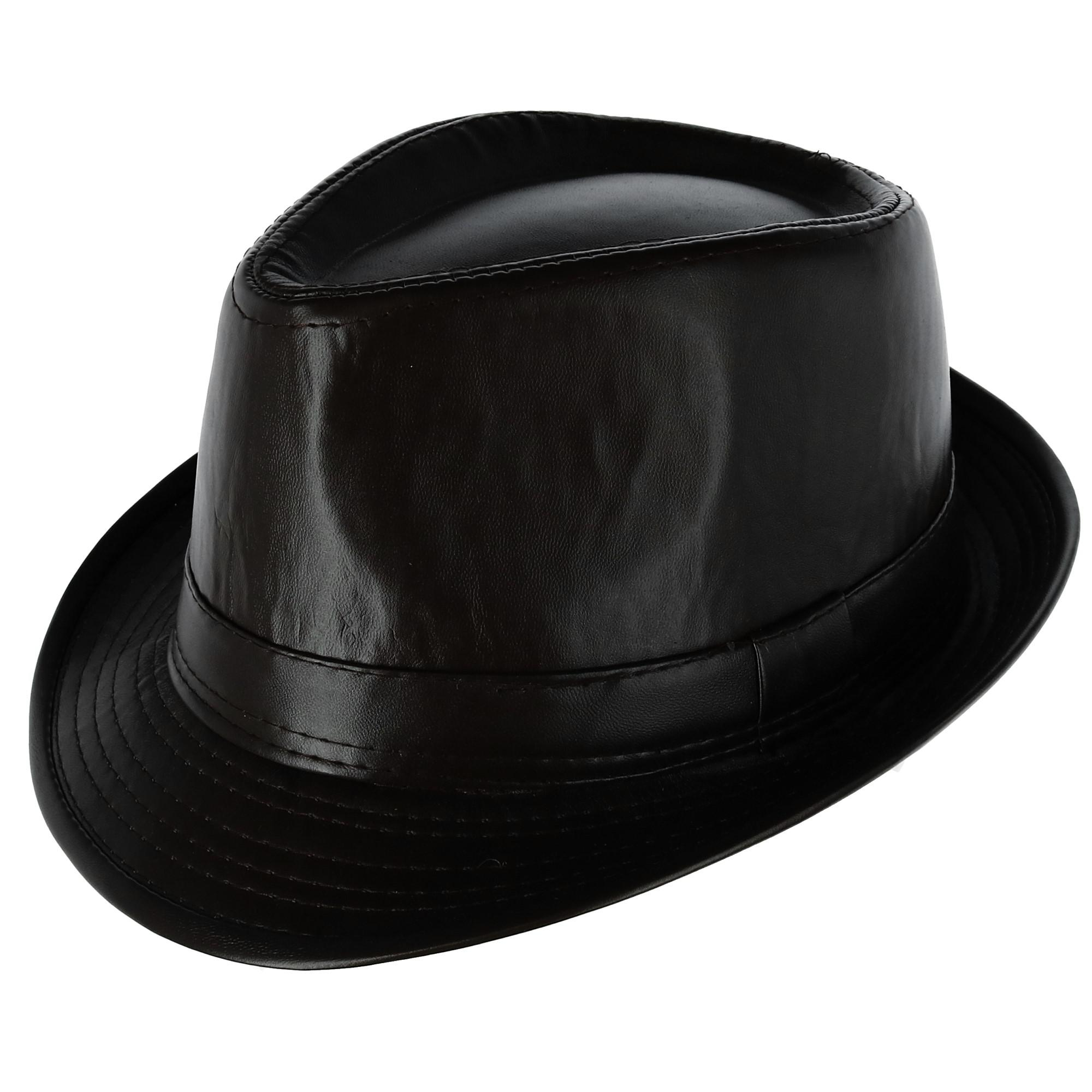 Westend Men s Faux Leather Trilby Fedora Hat 68a89570569