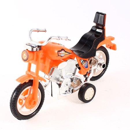 Gift Four Wheels Pull Back Orange Black Plastic Motorcycle Toy