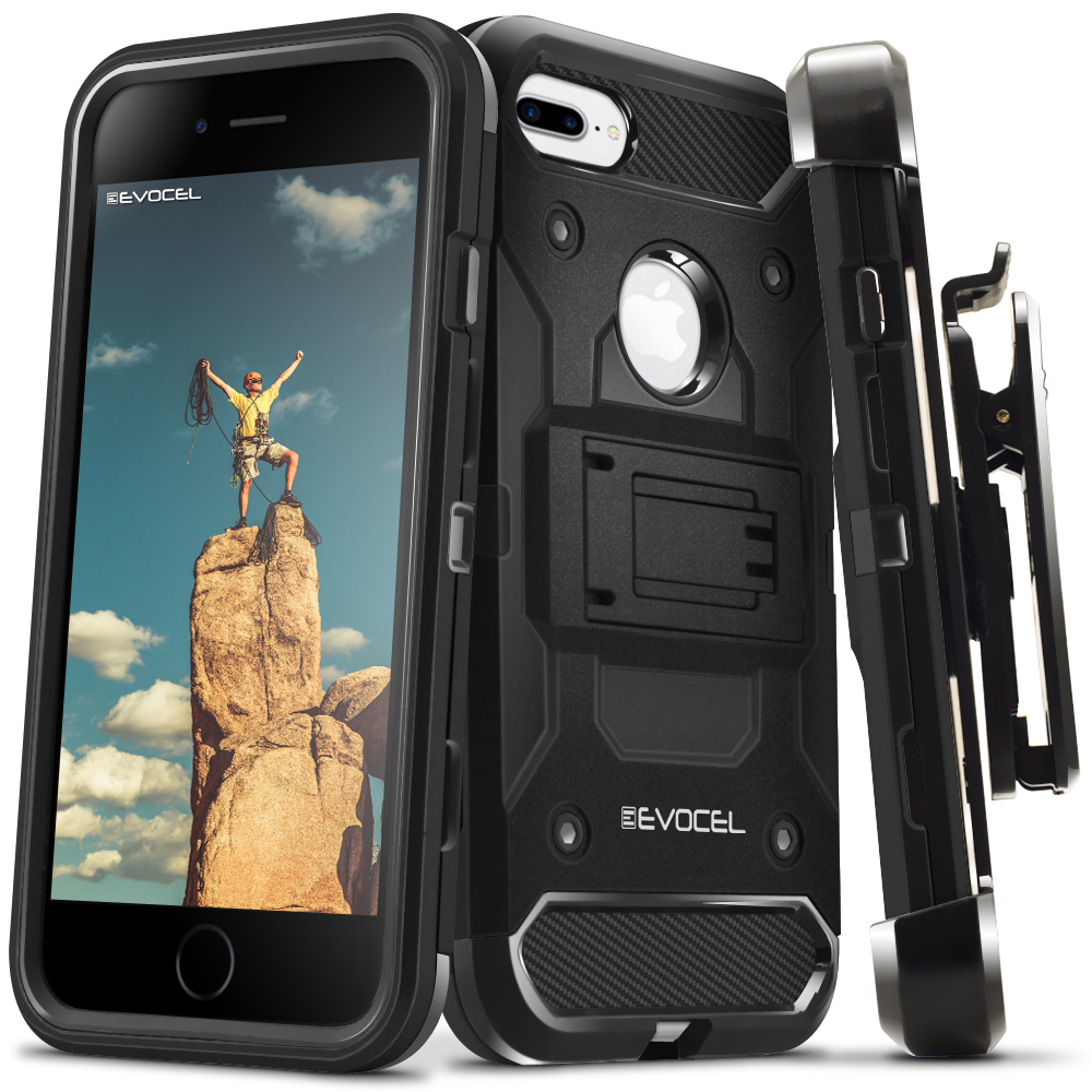 Evocel® Tri-Layer Protector Case for iPhone 7 Plus, iPhone 6 Plus, and iPhone 6s Plus, Jet Black