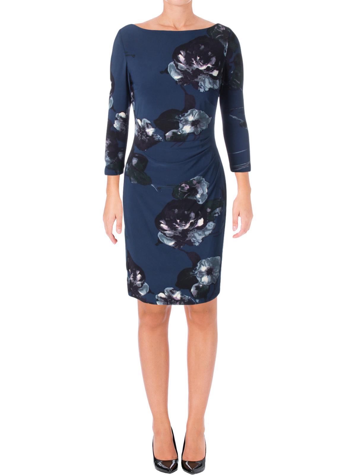 Lauren Ralph Lauren Womens Ruched Side Floral Print Wear to Work Dress