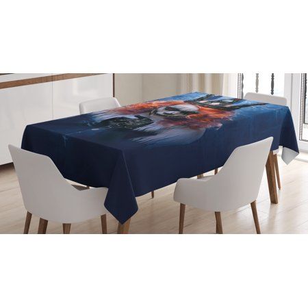 Queen Tablecloth, Queen of Death Scary Body Art Halloween Evil Face Bizarre Make Up Zombie, Rectangular Table Cover for Dining Room Kitchen, 60 X 84 Inches, Navy Blue Orange Black, by Ambesonne