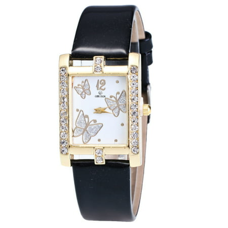 Butterfly Watch Square Face Crystal Black Sparkling Watchband, Watch-154-B