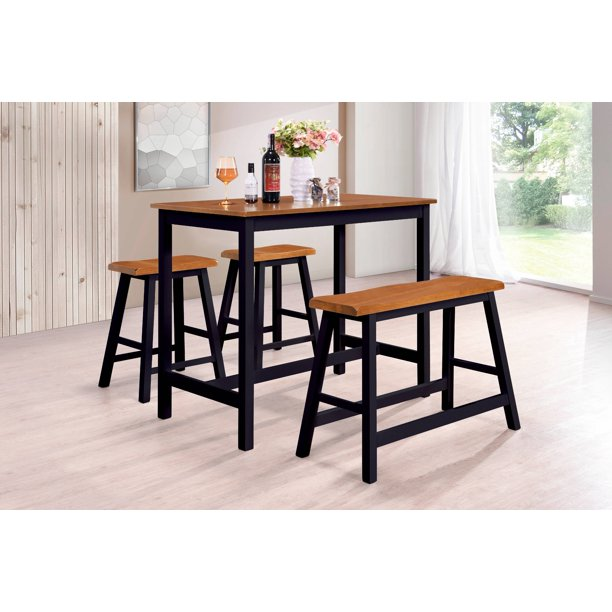 Naples 4 Piece Counter Height Kitchen Dinette Breakfast Pub Set, Cherry & Black Wood, Contemporary (Table, 2 Stools, Bench)