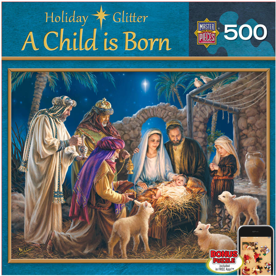Holiday Glitter Puzzle, A Child is Born, 500 Pieces