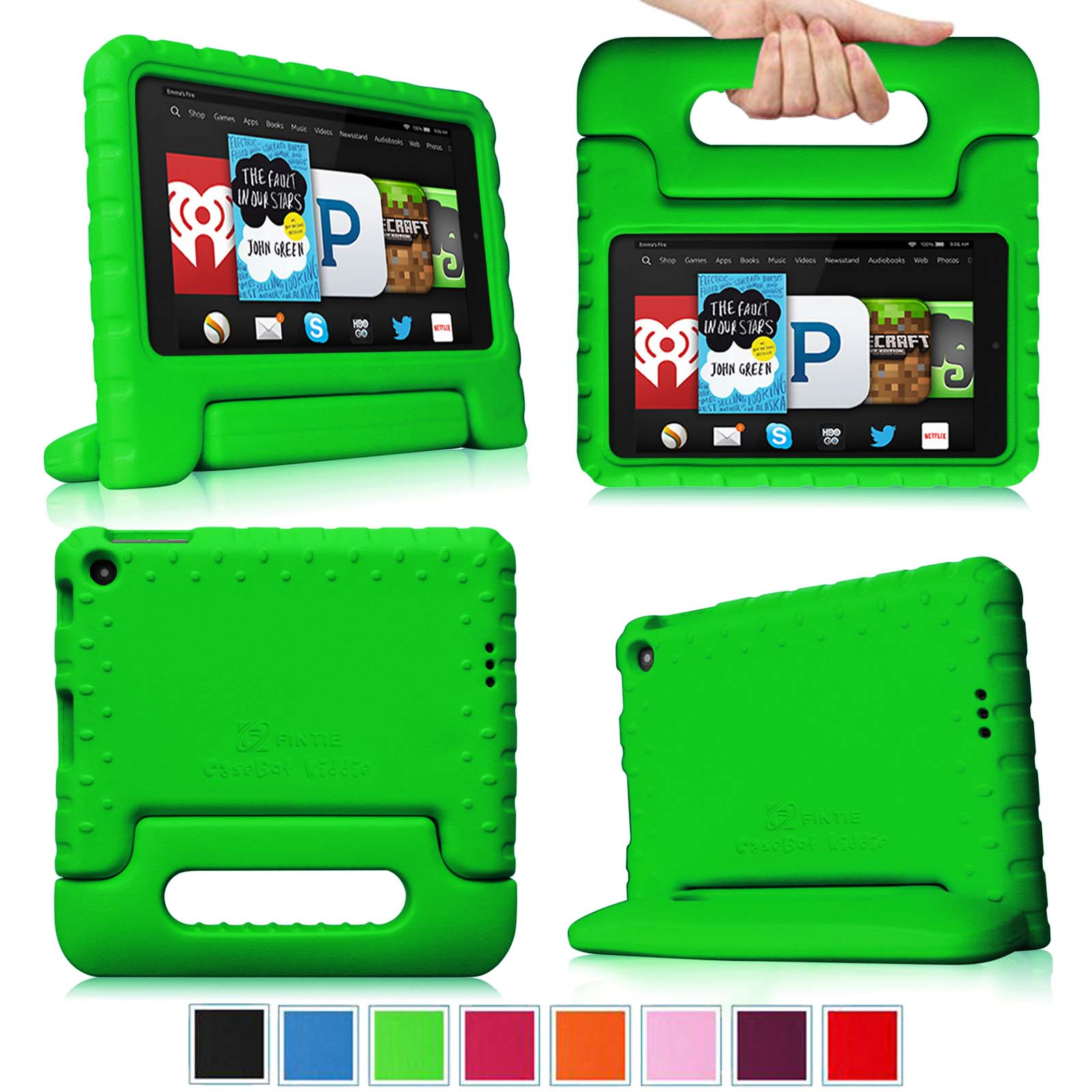 Fintie Light Weight Shock Proof Handle Case for Kids Specially made for Kindle Fire HD 6 2014 Oct Release, Green