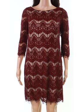 4bf52e866d9bd Product Image JESSICA HOWARD Womens Burgundy Frayed Lace 3/4 Sleeve Jewel  Neck Mini Shift Cocktail Dress