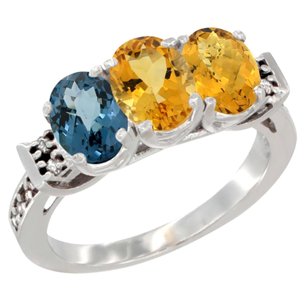 14K White Gold Natural London Blue Topaz, Citrine & Whisky Quartz Ring 3-Stone 7x5 mm Oval Diamond Accent, sizes 5 10 by WorldJewels