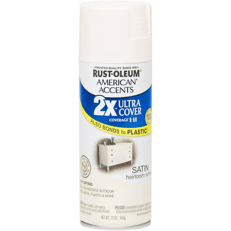 Rust Oleum American Accents Ultra Cover 2x Satin Heirloom White Spray Paint And Primer In 1 12 Oz