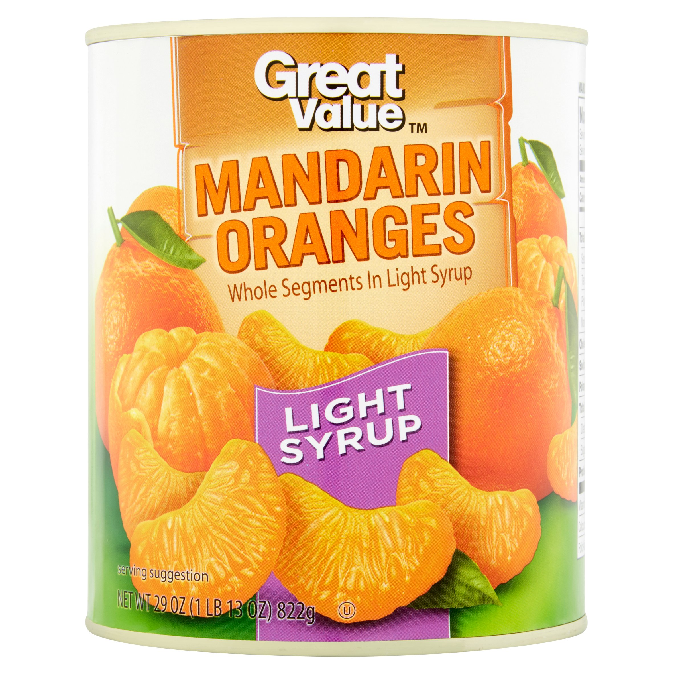 Great Value Mandarin Oranges Whole Segments In Light Syrup, 29 Oz