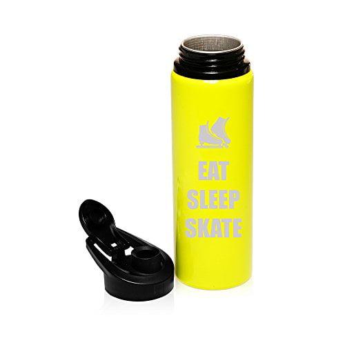 25 oz Aluminum Sports Water Travel Bottle Eat Sleep Skate Ice Skates (Yellow) by
