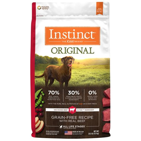 Instinct Original Grain-Free Recipe with Real Beef Natural Dry Dog Food by Nature's Variety, 20 lb. Bag