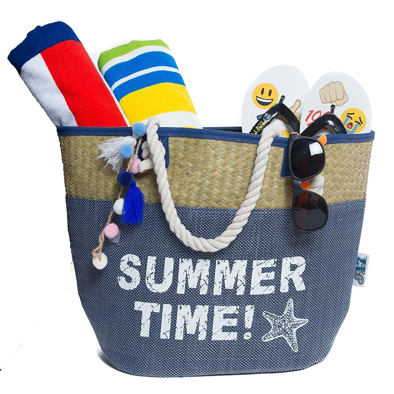 Beach Bag, Straw Beach Tote Bag, Sturdy Handles, Zipper & Two ...