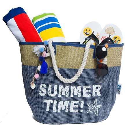 Beach Bag, Straw Beach Tote Bag, Sturdy Handles, Zipper & Two ...