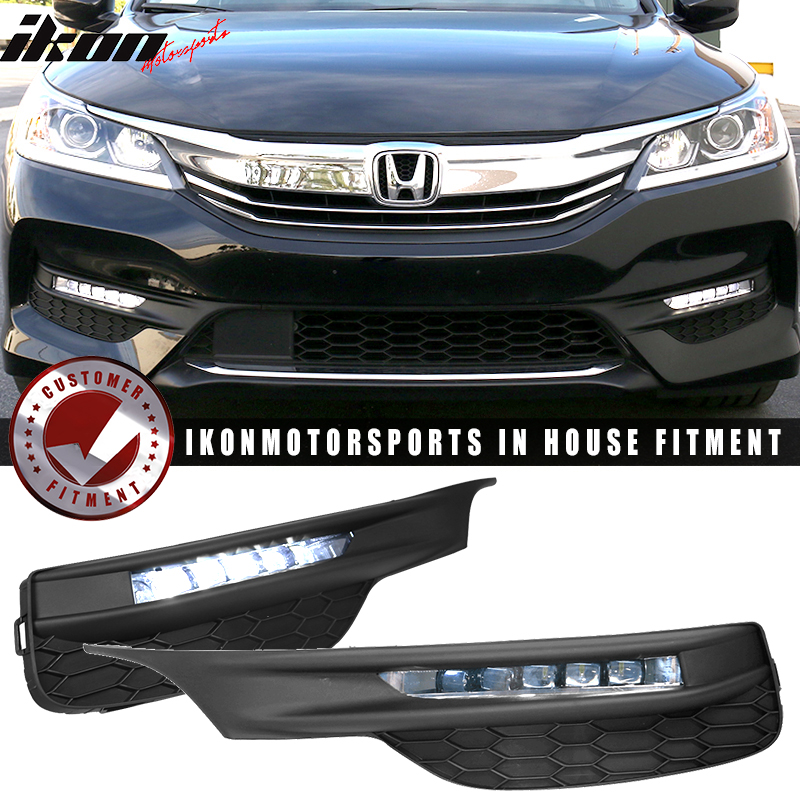 Fits 16-17 Accord Sedan OE Style LED Fog Light Lamp Kit w/ Switch & Relay Pairs