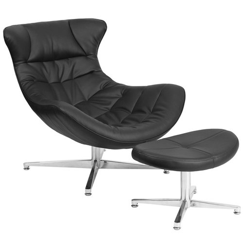 Orren Ellis Wheatley Leather Lounge Chair with Ottoman