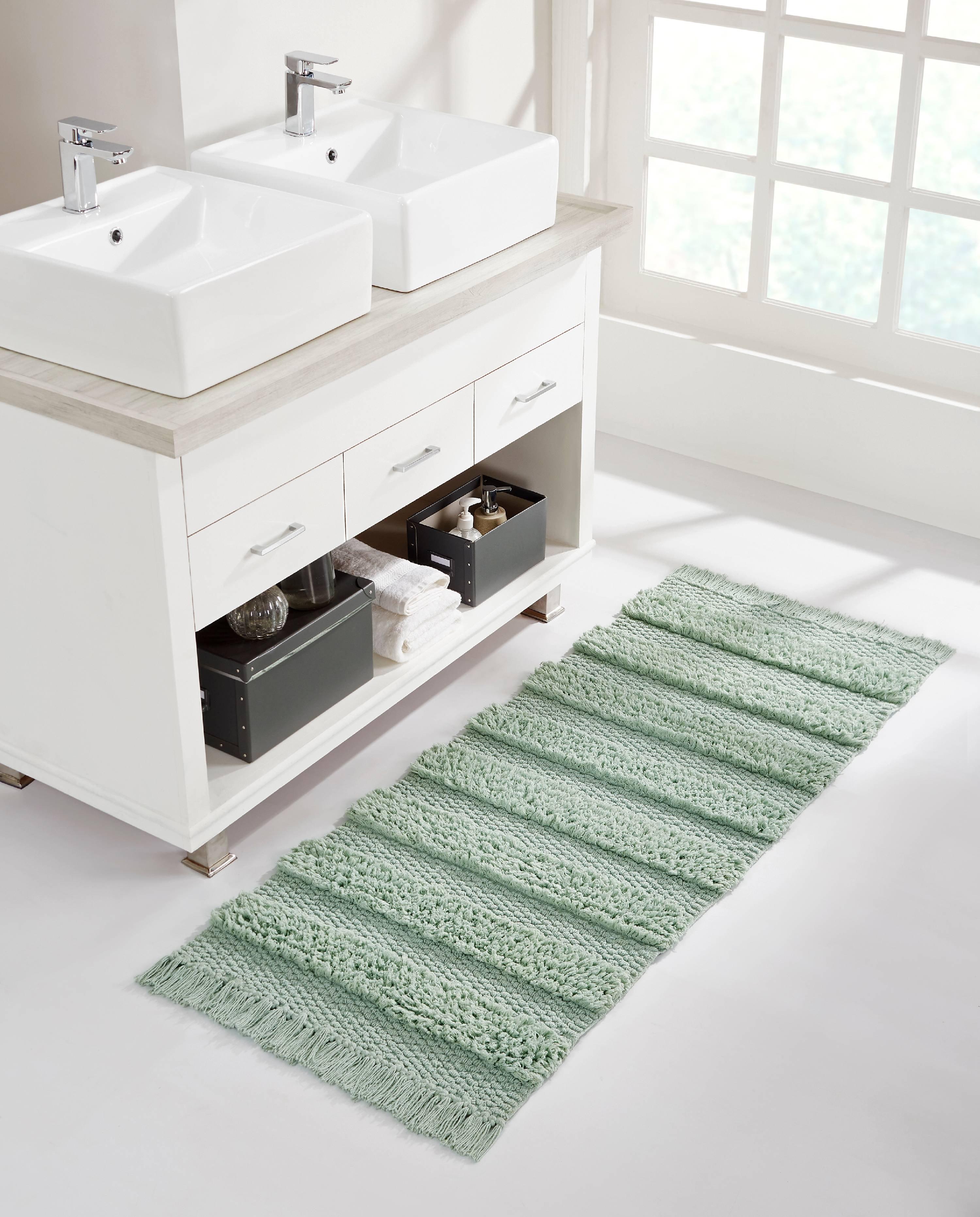 VCNY Home Savannah Fringe Stripe Cotton Blend Bath Rug Runner, 20 x 20,  Green