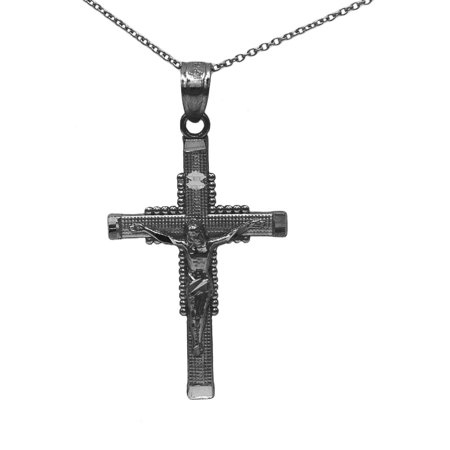 925 Sterling Silver Black Rhodium Jesus Crucifix Pendant Necklace with 16