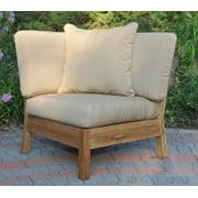 "35"" Natural Teak Deep Seating Outdoor Sectional Corner w/ Salsa Stripe Cushions"