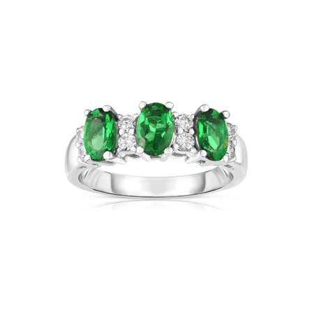 14K White Gold Oval Emerald & Diamond (1/4 Ct, G-H Color, SI2-I1 Clarity) Ring 1/4 Ct Oval Diamond Ring