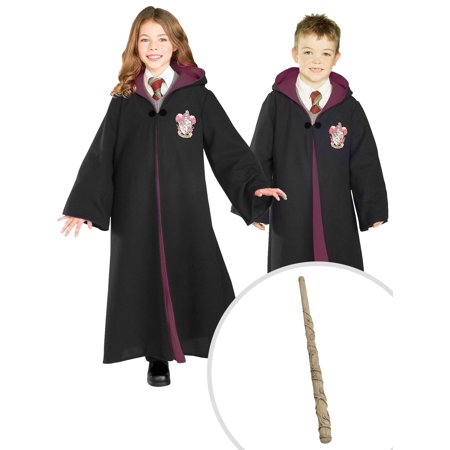 Kid's Harry Potter Deluxe Gryffindor Robe Costume and Hermione Wand Harry Potter Costume Accessory - Costume Hermione Granger