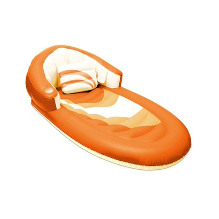 68 Deluxe Orange And White Inflatable Swimming Pool Lounger With Pillow