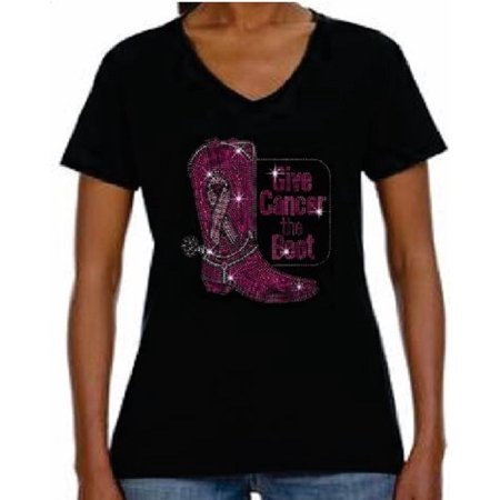 - Rhinestone Womens T Shirt Breast Cancer Boot JRW-102 - S / Women Short-Sleeve V-Neck-T-Shirt