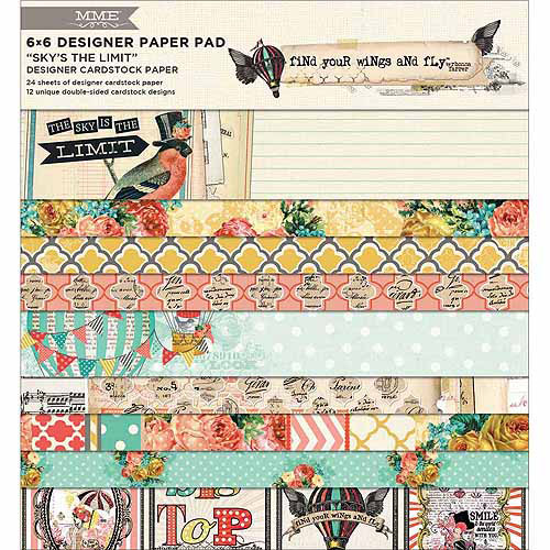 """Find Your Wings & Fly Paper Pad 6""""X6"""" 24/Sheets-Sky's The Limit 12 Dbl-Sided Designs/2ea"""