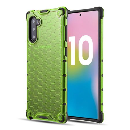 SAMSUNG GALAXY NOTE 10 HONEYCOMB CRYSTAL CLEAR TINTED SHOCK  ABSORPTION BUMPER SLIM FIT + HEAVY DUTY PROTECTIVE TPU CASE - LIME GREEN - image 1 of 1