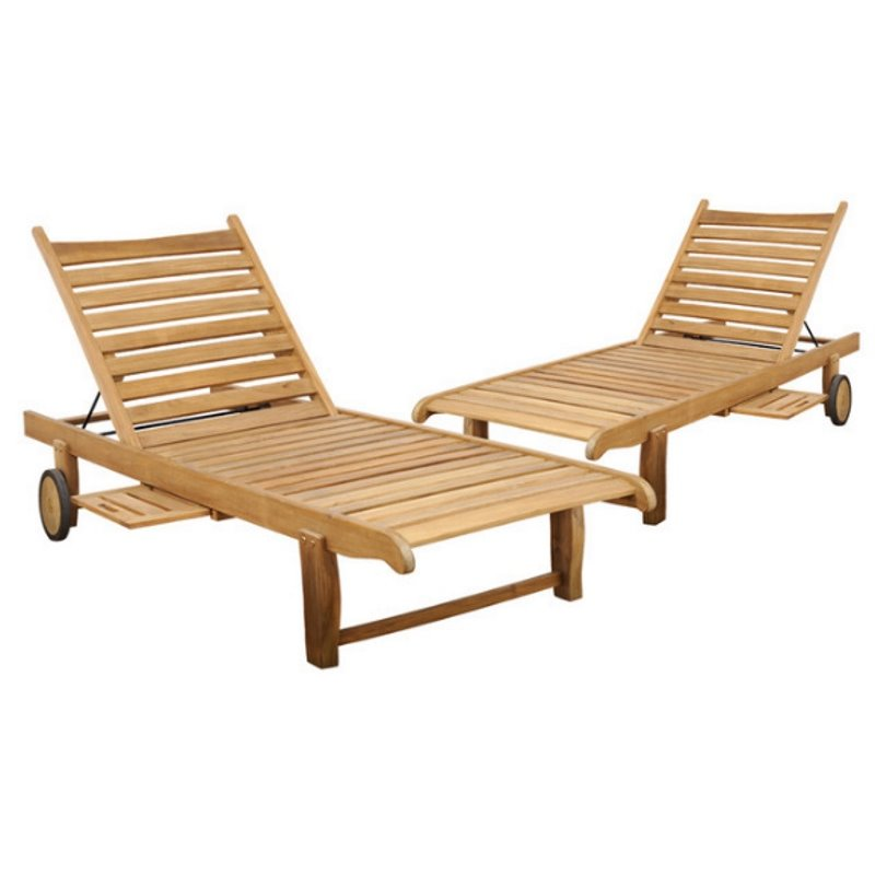 International Home Cairo Teak Chaise Lounge in Light Brown (Set of 2)