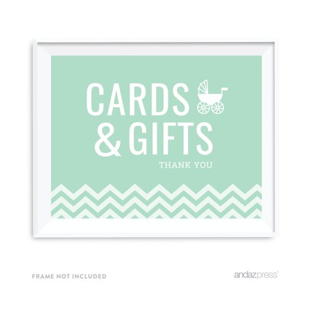 Cards & Gifts Mint Green Chevron Print Baby Shower Party Signs