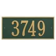 Personalized Hartford Rectangular Estate Wall 1-Line Address Plaque in Green & Gold