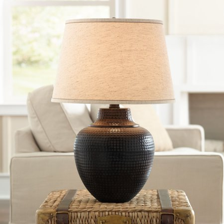 Barnes and Ivy Rustic Table Lamp Hammered Bronze Metal Pot Beige Linen Drum Shade for Living Room Family Bedroom Nightstand
