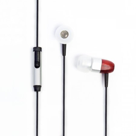 Cherry Headphone - Thinksound ts02+mic 8mm Noise Isolating Wooden Headphone with Universal 1 Button Microphone (Silver/Cherry)