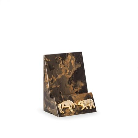 Bey-Berk International D027B Stock Market Tiger Eye Marble Desktop Phone Tablet Cradle with a Pass-thru Hole for Charging Cable, Brown