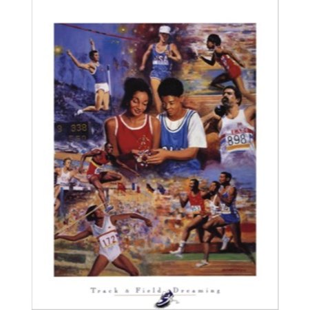 Track & Field Dreaming by Clemente Micarelli 22x28 Art Print Poster Sports Young Boy and Girl Dreaming of Being Track and Field Stars Holding Gold Medal and Trophy