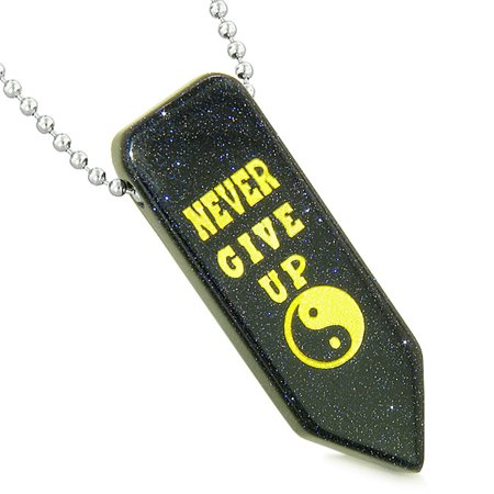 Never Give Up Reversible Amulet Yin Yang Energy Powers Arrowhead Blue Goldstone Pendant 18 Inch Necklace