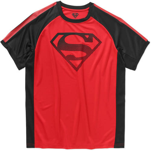 Superman Logo Contrast Stripe Sleeve Men's Performace Graphic Tee