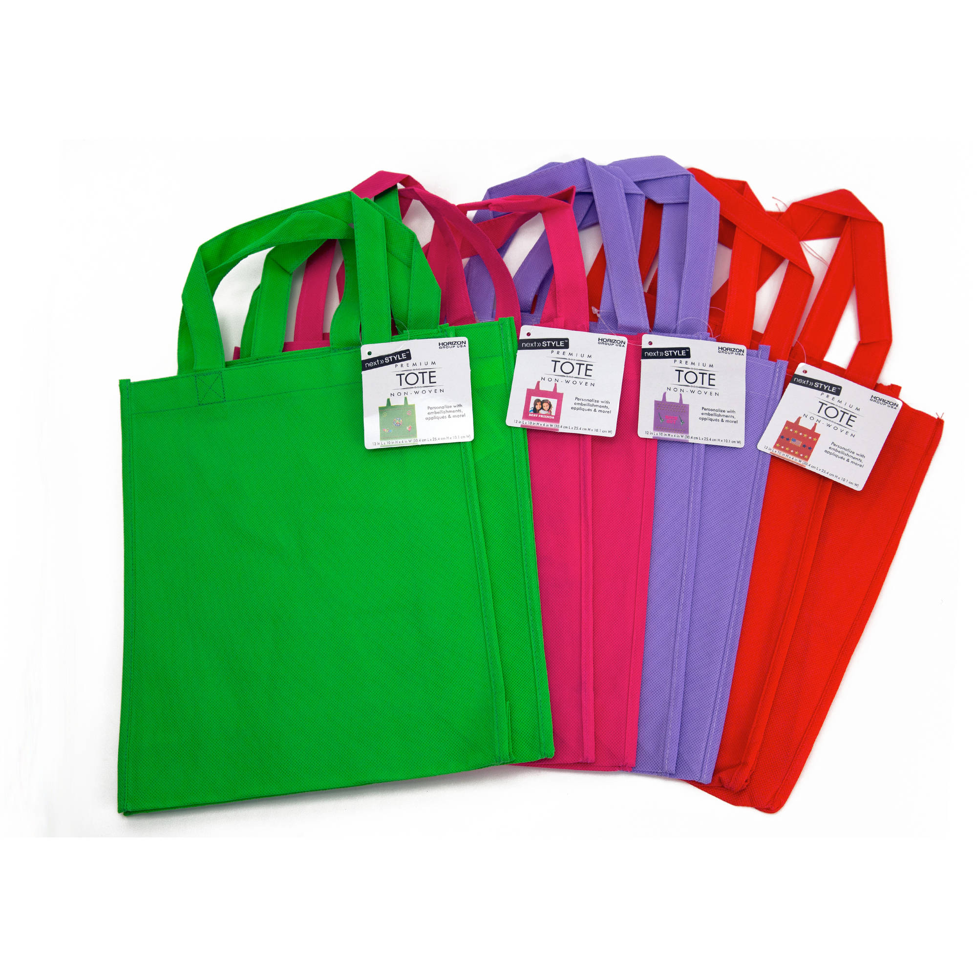 Horizon Group USA Green, Pink, Purple & Red Non-Woven Totes, 8pk