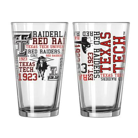 Boelter Brands NCAA Set of Two 16 Ounce Spirit Pint Glass Set, Texas Tech University Red Raiders