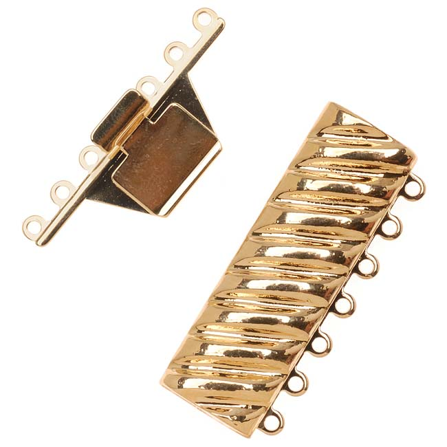 23K Gold Plated 7-Strand Box Clasp - Rectangle With Helix Design 18x40mm