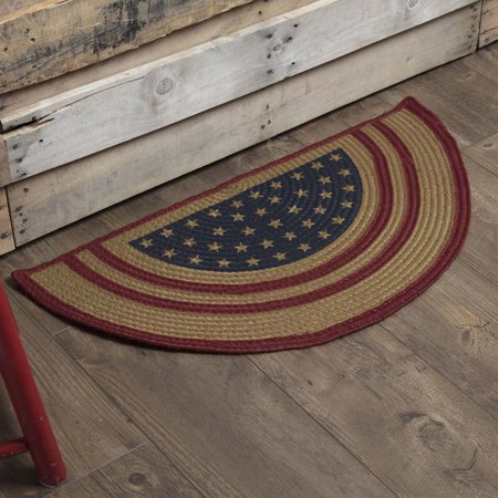 Americana Red Americana Flooring July Fourth Star Flag Jute Stenciled Star Half Circle Accent Rug