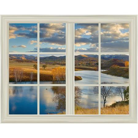 Open Field Landscape in Autumn Window View Mural Wall Sticker - (Wrigley Field Metal)