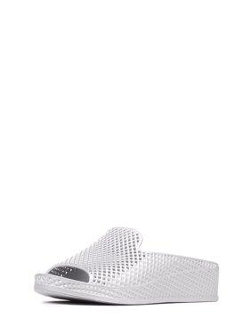 9ba723c27c Product Image Jeffrey Campbell Womens Fling-2 White Textured Mesh Wedge  Slide Sandals Mule