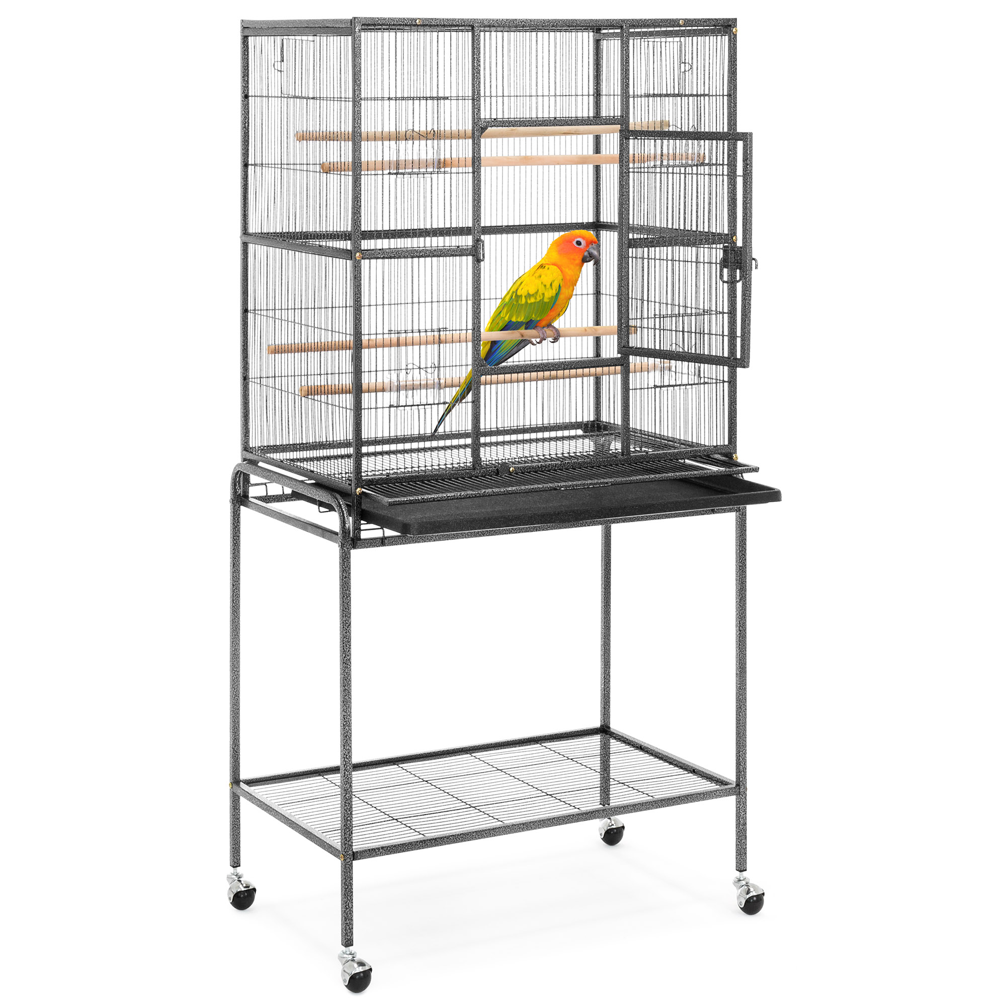 Best Choice Products 53in Portable Iron Pet Parrot Bird Cage w/ Rolling Stand, 2 Wooden Perches, 4 Feeding Bowls & Doors