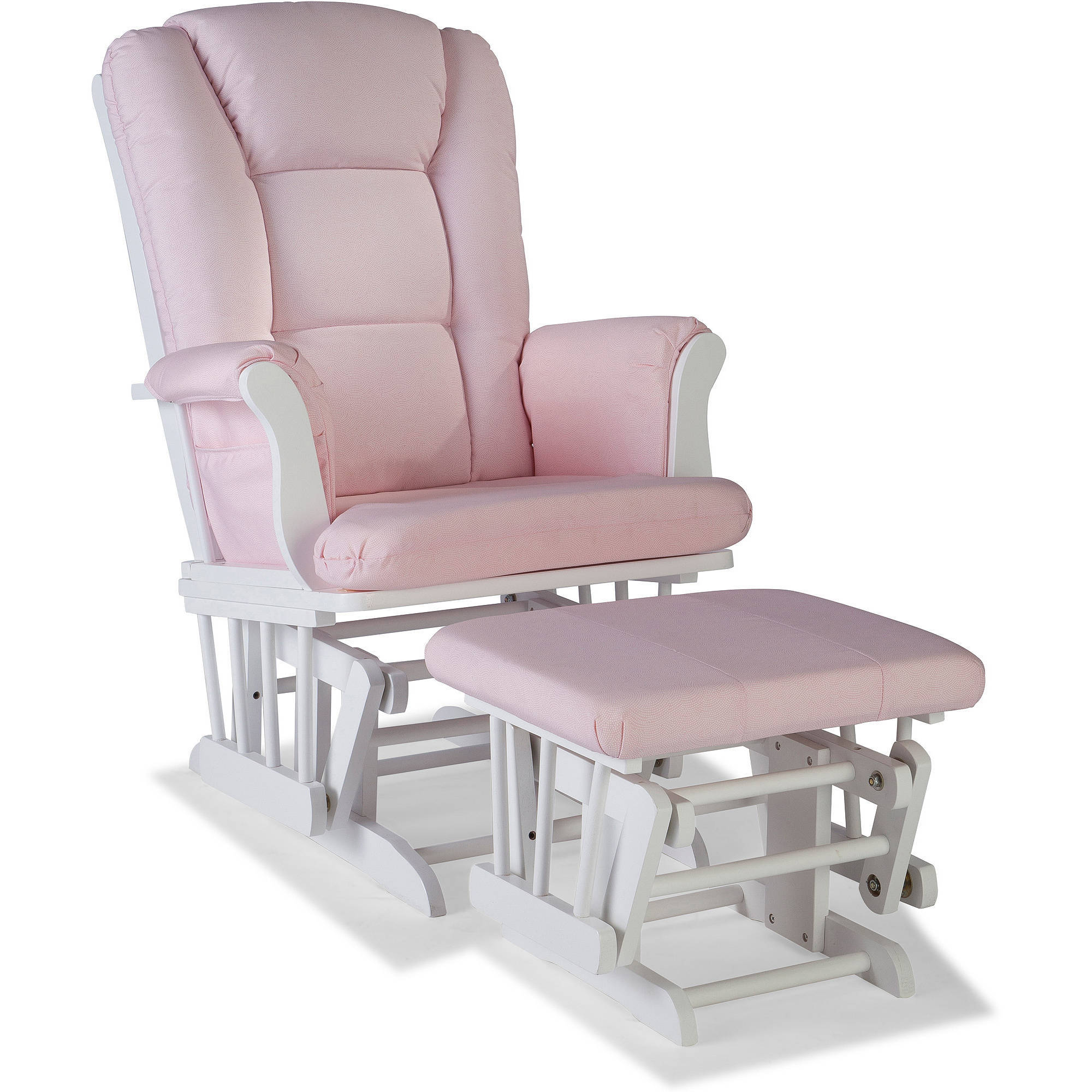 Storkcraft Swirl Tuscany Glider and Ottoman incl Lumbar Pillow, Pink Blush Cushions, Choose Your Finish