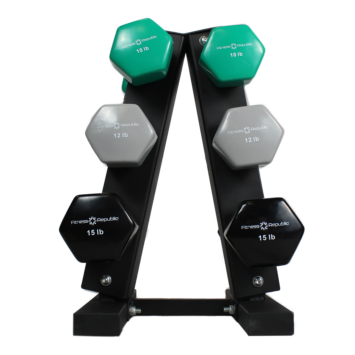 Fitness Republic Vinyl Dumbbells Pairs (10lb, 12lb & 15lb) with 3 Tier Rack