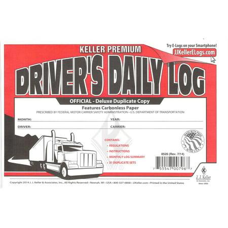 J.J. Keller 8526 701L Duplicate Copy Driver's Daily Log Book Carbonless -100 Pack Drivers Daily Log Carbonless Duplicate