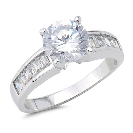 CHOOSE YOUR COLOR Round Clear CZ Solitaire Wedding Ring New .925 Sterling Silver