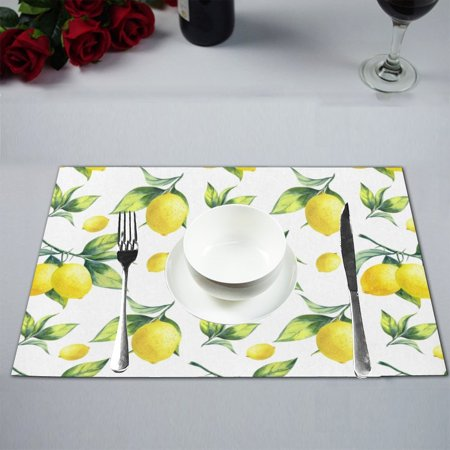 MKHERT Funny Fruit Decor Yellow Lemon Art Placemats Table Mats for Dining Room Kitchen Table Decoration 12x18 inch,Set of 4